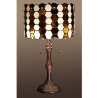 Kohen 2-light Brown and White Tiffany-style 12-inch Table Lamp