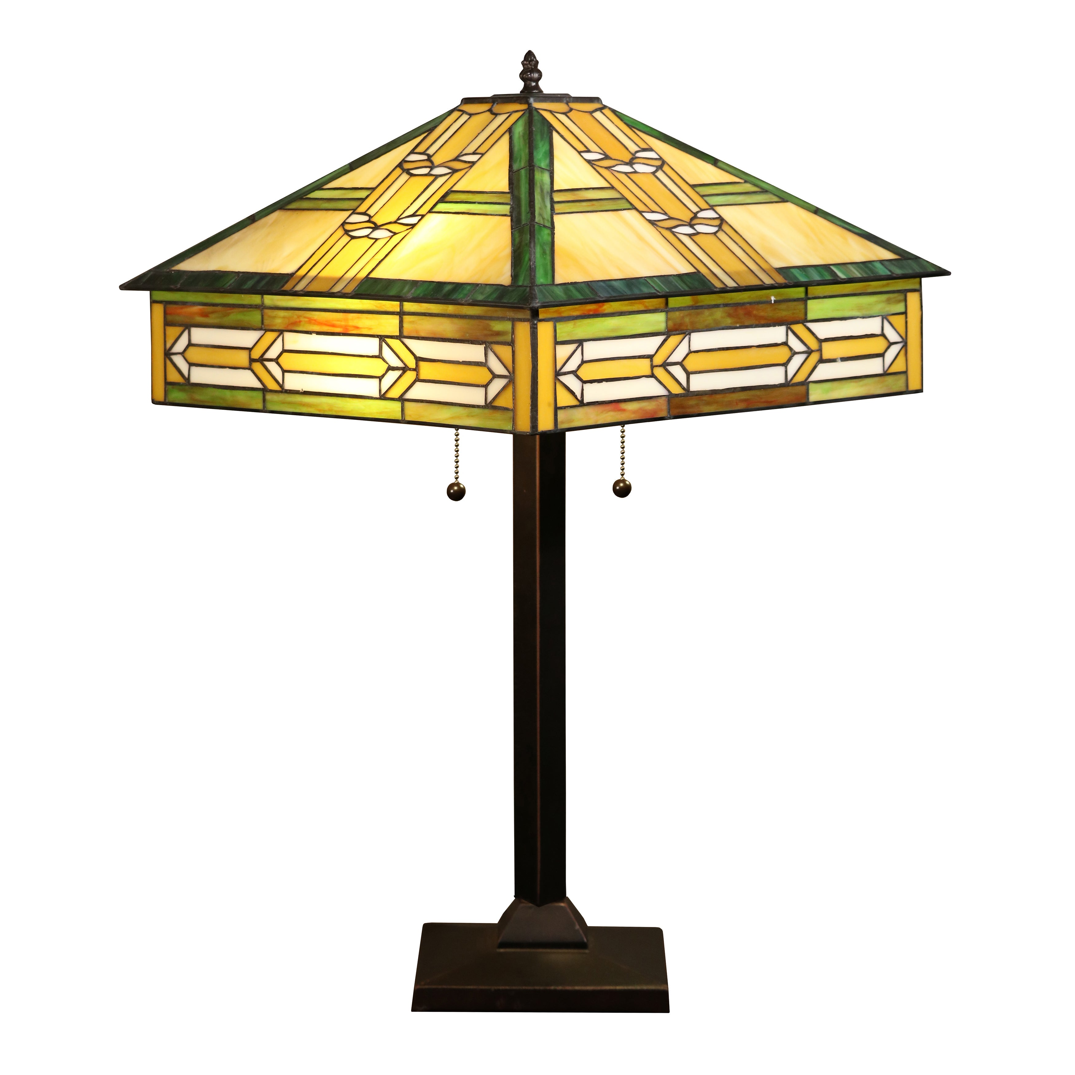 Tiffany Style Table Lamp Indoor Desk Light Stained Art Glass Shades (25 In.)