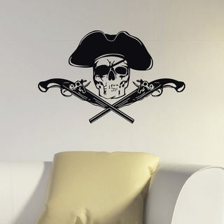 Skull Jolly Roger Pirate Flag Vinyl Wall Art Decal Sticker