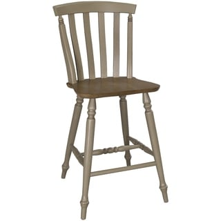 Fresco Taupe and Wood Transitional Slat Back 24 Inch Barstool
