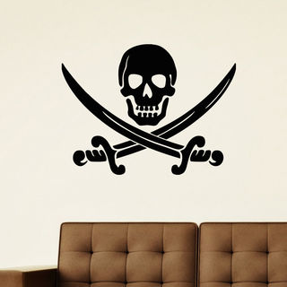 Jolly Roger Pirate Flag Vinyl Wall Art Decal Sticker