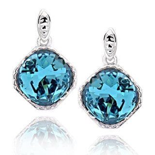 Sterling Silver Square Cushion Shape Crystal Earrings (China)