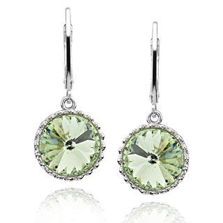 Sterling Silver Round Crystal Earrings (China)