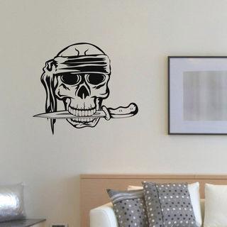 Skull With Knife Vinyl Wall Art Decal Sticker