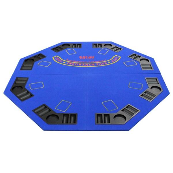 4 Fold Octagon Poker/ Blackjack Table Top Blue
