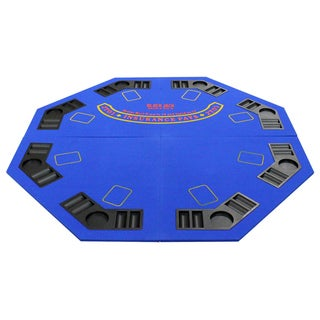 4 Fold Octagon Poker/ Blackjack Table Top Blue