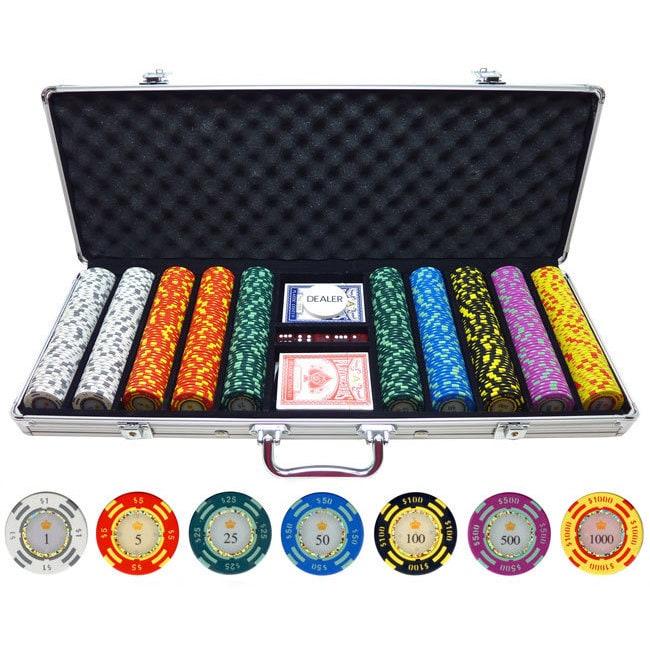 JP 500-piece Crown Casino 13.5-gram Clay Poker Chips, Gre...