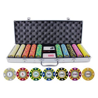 13.5-gram 500-piece Stripe Suited V2 Clay Poker Chips Set