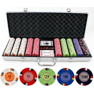 13.5-gram 500-piece Lucky Horseshoe Clay Poker Chips Set