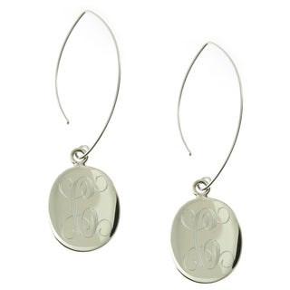 Handmade Sterling Silver High Polish Engraved Oval Disc Wire Drop Earrings (Mexico)