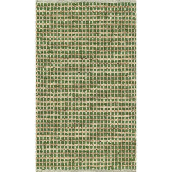 Hand Woven Renato Green Cotton And Jute Rug