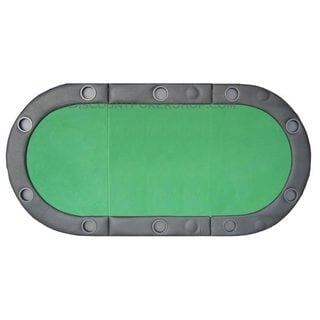 Padded Texas Hold'em Folding Poker Table Top with Cup Holders Green