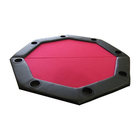 Padded Octagon Folding Poker Table Top with Cup Holders Red