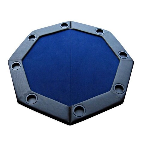 Padded Octagon Folding Poker Table Top with Cup Holders Blue