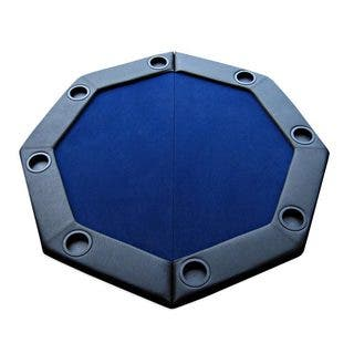 Padded Octagon Folding Poker Table Top with Cup Holders Blue|https://ak1.ostkcdn.com/images/products/10642863/P17710451.jpg?impolicy=medium