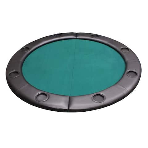 Padded Round Folding Poker Table Top with Cup Holders Green