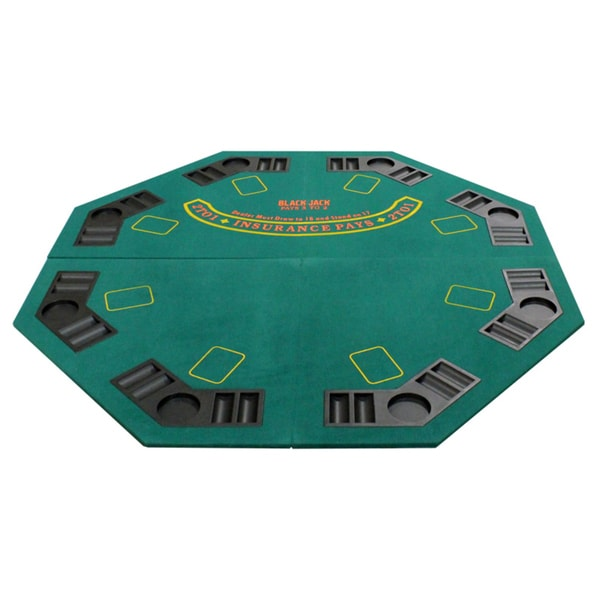 Superb 4 Fold Octagon Poker/ Blackjack Table Top Green