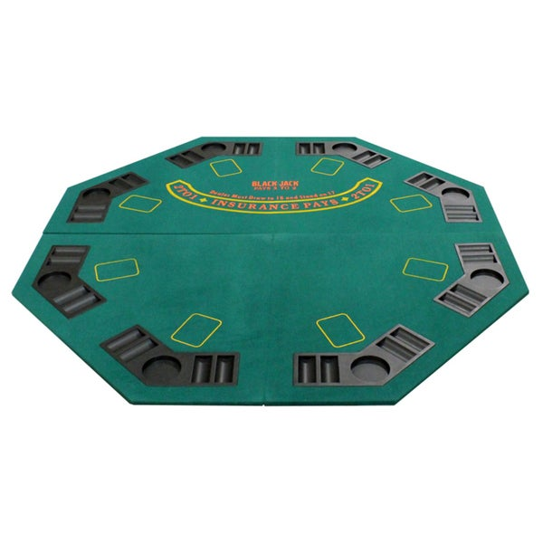 4 Fold Octagon Poker/ Blackjack Table Top Green