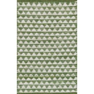 Hand-woven Dakota Green Cotton Rug - 3' x 5'