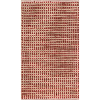 Hand-woven Renato Red Cotton and Jute Rug (3'0 x 5'0)