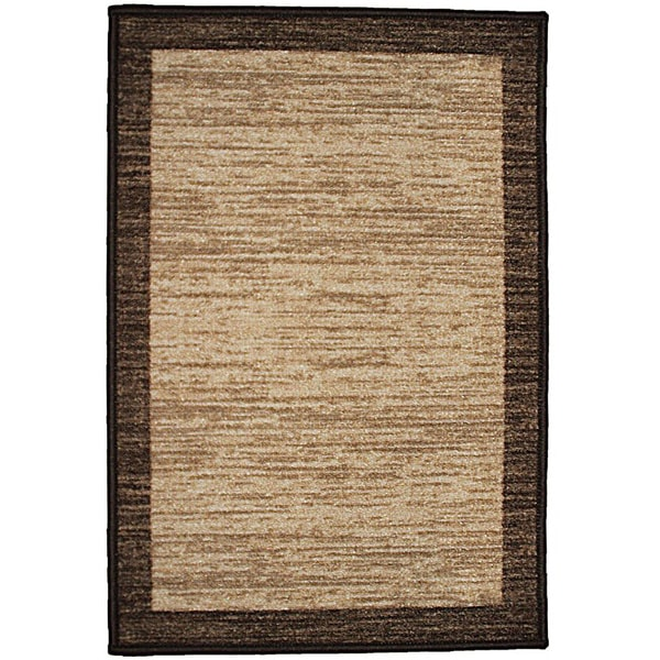 Decorative Tan Rectangle Area Rug With Chocolate Border 20in By30in