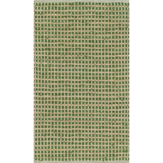 Hand-woven Renato Green Cotton and Jute Rug (1'8 x 5'0)