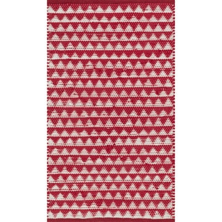 Hand-woven Dakota Red Cotton Rug (2'6 x 4'0)
