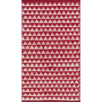 Hand-woven Dakota Red Cotton Rug - 2' x 5'