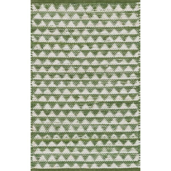 Shop Hand-woven Dakota Green Cotton Rug (2'0 X 3'4)