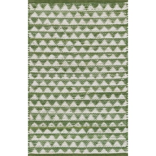 Hand-woven Dakota Green Cotton Rug (2'0 x 3'4)