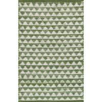 Hand-woven Dakota Green Cotton Rug - 2' x 3'4