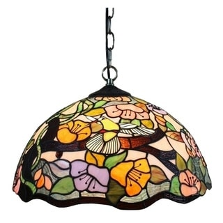 Amora Lighting Tiffany Style Floral 2-light Hanging Lamp