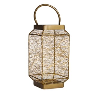 Elements 13-inch Copper LED String Light Lantern