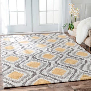 nuLOOM Handmade Modern Ikat Trellis Sunflower Yellow Rug (8'6 x 11'6)|https://ak1.ostkcdn.com/images/products/10643084/P17710648.jpg?impolicy=medium