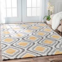 "Palm Canyon Algiers Handmade Modern Ikat Trellis Sunflower Yellow Area Rug - 8'6"" x 11'6"""