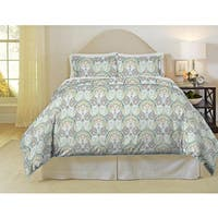 Pointehaven Cypress 200 Thread Count Printed Percale 3-piece Duvet Set
