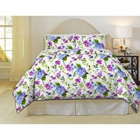 Pointehaven Primavera 200 Thread Count Printed Percale 3-piece Duvet Set