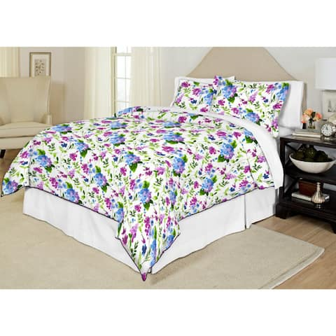 Pointehaven Primavera 200 Thread Count Printed Percale 3-piece Duvet Set - Multi
