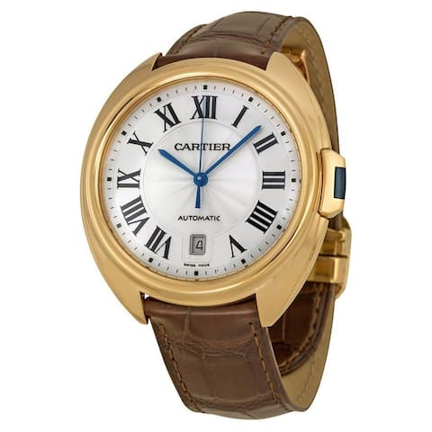 Cartier Men's WGCL0004 'Cle Silvered Flinque' 18Kt Rose Gold Automatic Brown Leather Watch