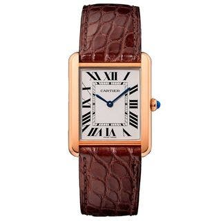 Cartier Women's W5200025 'Tank Solo' 18 Kt Rose Gold Brown Leather Watch