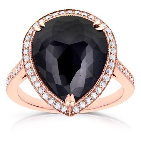 Annello by Kobelli 14k Rose Gold 8 1/2ct TDW Pear Shape Black Diamond Halo Fine MIlgrain Antique Ring