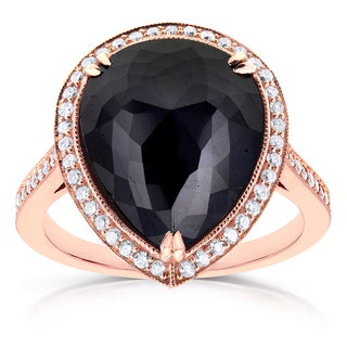 Annello by Kobelli 14k Rose Gold 8 1/2ct TDW Pear Shape Black Diamond Halo Fine MIlgrain Antique Rin
