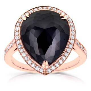 Annello by Kobelli 14k Rose Gold 8 1/2ct TDW Pear Shape Black Diamond Halo Fine MIlgrain Antique Ring