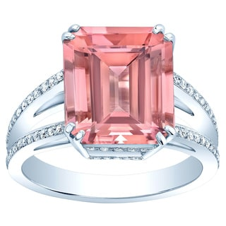 Platinum Pink Tourmaline 1/3ct TDW Diamond Ring (H-I, VS1-VS2)