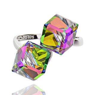Sterling Silver Double Cube Crystal Bypass Ring (China)