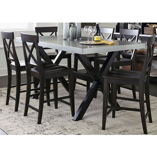 Keaton Charcoal and Zinc Top Trestle Gathering Table