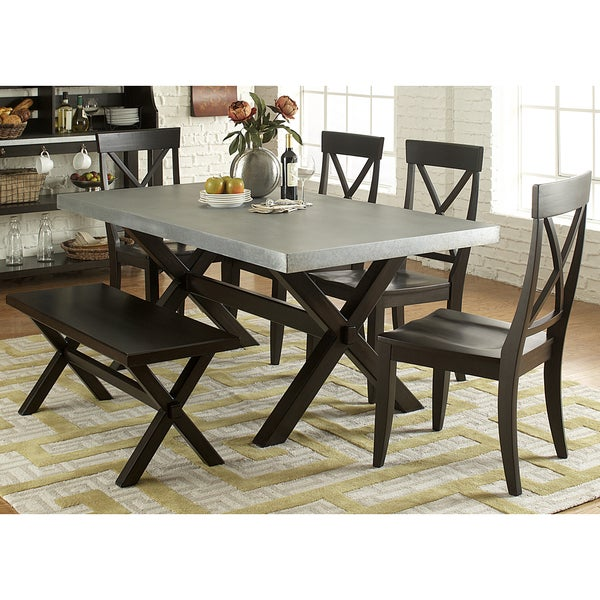 Charming Keaton Charcoal And Zinc Top Trestle Dinette Table