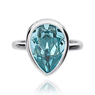 Sterling Silver Pear Crystal Solitaire Ring (China)
