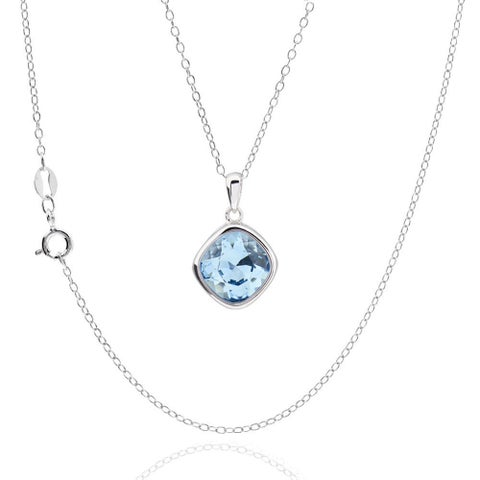 Sterling Silver Square Cushion Genuine Austrian Crystal Elements Necklace 18-inch Chain (China)