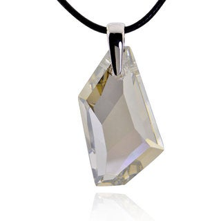 Sterling Silver Genuine Crystal Pendant with 20-inch Leather Cord (China)